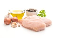 Fresh raw chicken breast fillet. Isolated on white background Royalty Free Stock Photos