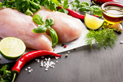 Fresh raw chicken breast,  spices and herbs Stock Images