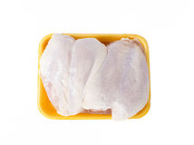 Fresh raw chicken breast top view. On white background Stock Photos