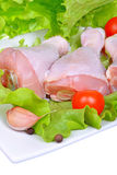 Fresh raw chicken drumstick. On the plate Royalty Free Stock Photography