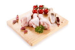 Fresh raw chicken drumsticks. On white background Royalty Free Stock Image