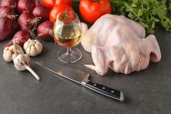 Fresh raw chicken fillet and vegetables prepared for cooking Royalty Free Stock Photography