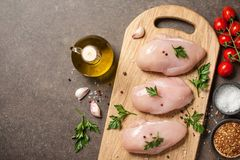 Fresh raw chicken fillets with ingredients for cooking. Copy space Stock Photo