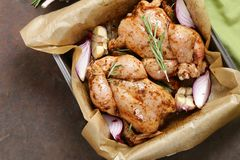 Fresh raw chicken with herbs. And spices Stock Photography