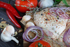 Fresh raw chicken with herbs, garlic, onion, tomatoes and chilli Stock Image
