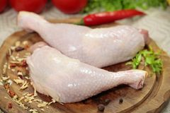 Fresh raw chicken leg Royalty Free Stock Photography