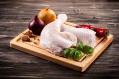Fresh raw chicken legs. On white background Stock Photo