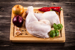 Fresh raw chicken legs. On white background Royalty Free Stock Image