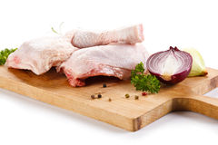 Fresh raw chicken legs. On white background Royalty Free Stock Photography