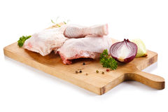 Fresh raw chicken legs. On white background Stock Photography
