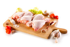 Fresh raw chicken legs. On white background Stock Photo