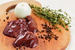 Fresh raw chicken liver Stock Photos