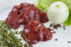 Fresh raw chicken liver Royalty Free Stock Photos