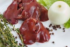 Fresh raw chicken liver Stock Photo