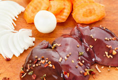 Fresh raw chicken liver Royalty Free Stock Image
