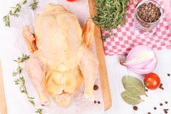 Fresh raw chicken prepared for roast with thyme and tomatoes Stock Images