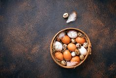 Fresh raw chicken and quail eggs in sieve. Selective focus Stock Photo