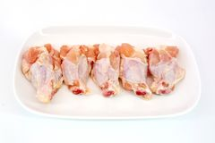 Fresh raw chicken wings isolate on white background ready to be Royalty Free Stock Photography
