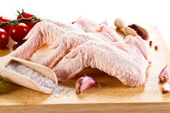 Fresh raw chicken wings. On white background Stock Images