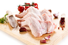 Fresh raw chicken wings. On white background Stock Photo
