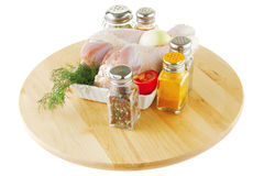 Fresh raw chiken legs and spices Stock Photography