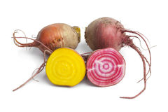 Fresh raw Chioggia beets and yellow beets. On white background Stock Photos