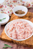 Fresh raw chopped chicken meat in a bowl Royalty Free Stock Images