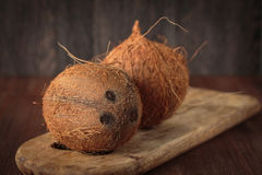 Fresh raw coconut. Fruit for healthy nutrition Royalty Free Stock Photos