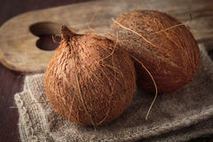 Fresh raw coconut. Fruit for healthy nutrition Royalty Free Stock Images