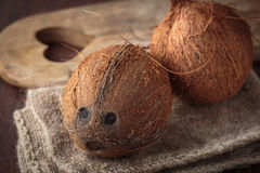 Fresh raw coconut. Fruit for healthy nutrition Stock Image