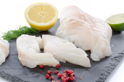 Fresh raw cod fillet on a slate plate Stock Images