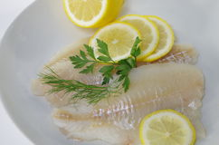 Fresh raw cod fish fillet. On a plate with parsley and lemon Royalty Free Stock Photo