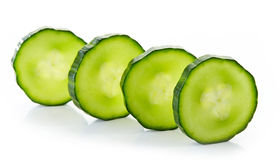 Fresh raw cucumber slices. Isolated on white background Royalty Free Stock Images