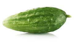 Fresh raw cucumber  on white. Background Stock Photography