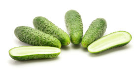 Fresh raw cucumbers isolated on white. Background Royalty Free Stock Photo