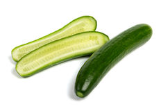 Fresh raw cucumbers  on white. Background one cutted Stock Images