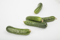 Fresh raw cucumbers on. White background Royalty Free Stock Image