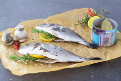 Fresh raw dorado fish on a piece of paper with lemon, rosemary, lemon, cherry tomato on a greay background. Healthy. Eating concept. Mediterranean life style Royalty Free Stock Images