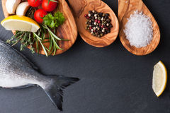 Fresh raw dorado fish with spices and herbs on black background, top view. Delicious portion of fresh fisht with aromatic herbs, spices and vegetables - healthy Stock Image