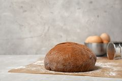 Fresh raw dough ball with cocoa powder. On kitchen table Royalty Free Stock Photos