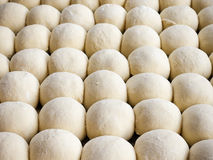 Fresh raw dough balls background, trendy seamless pattern from b. Akery, concept of healthy eating Stock Photo