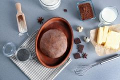 Fresh raw dough and ingredients. On table Royalty Free Stock Images
