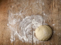 Fresh raw dough. On rustic wooden table, top view Royalty Free Stock Images