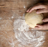 Fresh raw dough. On rustic wooden table, top view Stock Images