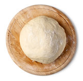 Fresh raw dough. On wooden board isolated on white background, top view Royalty Free Stock Photo