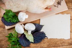 Fresh raw duck mushrooms. And spices prepared for cooking Stock Photography
