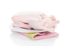 Fresh raw duck on white. Fresh raw duck on white background. Culinary cooking Stock Image