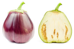 Fresh raw eggplant isolated. On white background Stock Photography