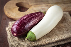 Fresh raw eggplants. For an healthy nutrition Stock Images