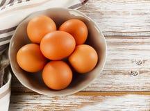 Fresh raw    eggs in a  bowl Stock Photos